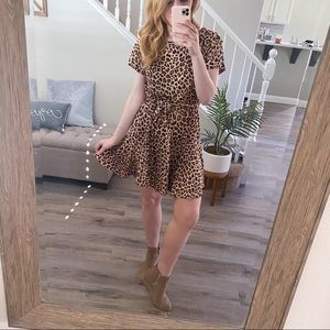 NWT Rebecca Taylor Cheetah Tshirt Dress 100% Linen